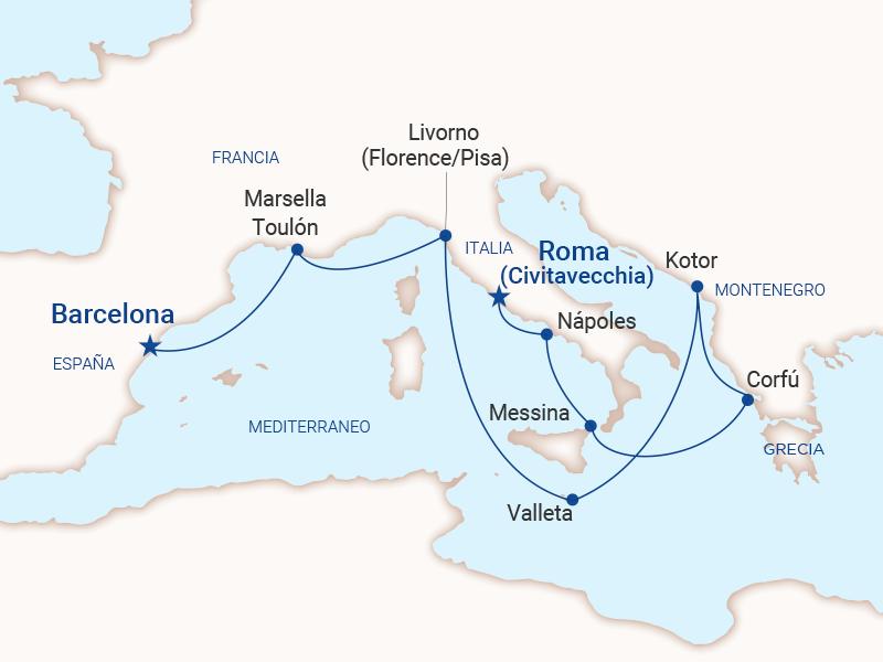 Barcelona a Roma - 11 dias en Mediterráneo - Princess